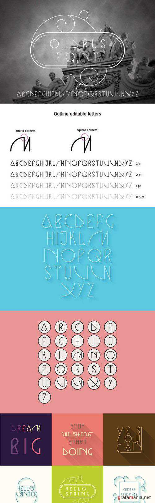Vector font Oldrus linear