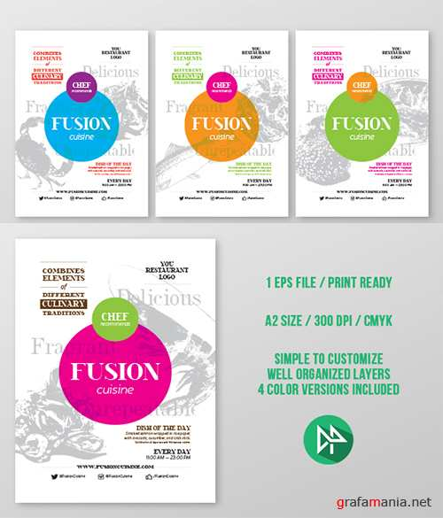 Fusion food poster template - Creativemarket 55258