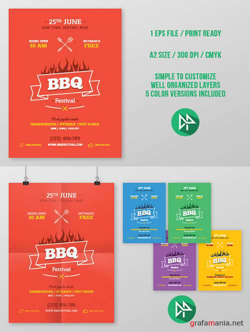 BBQ party poster template - Creativemarket 49849