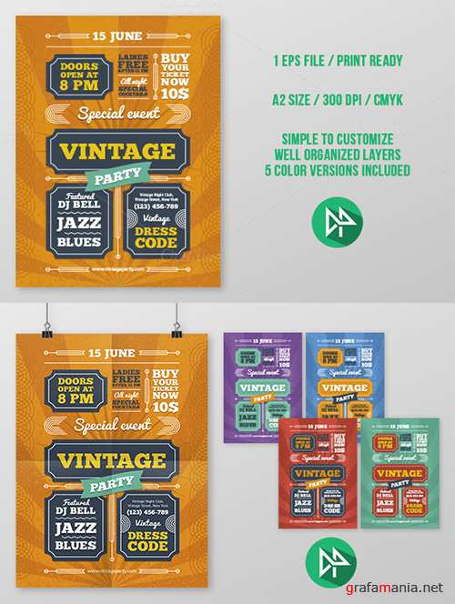 Vintage Party Poster Template - Creativemarket 44390