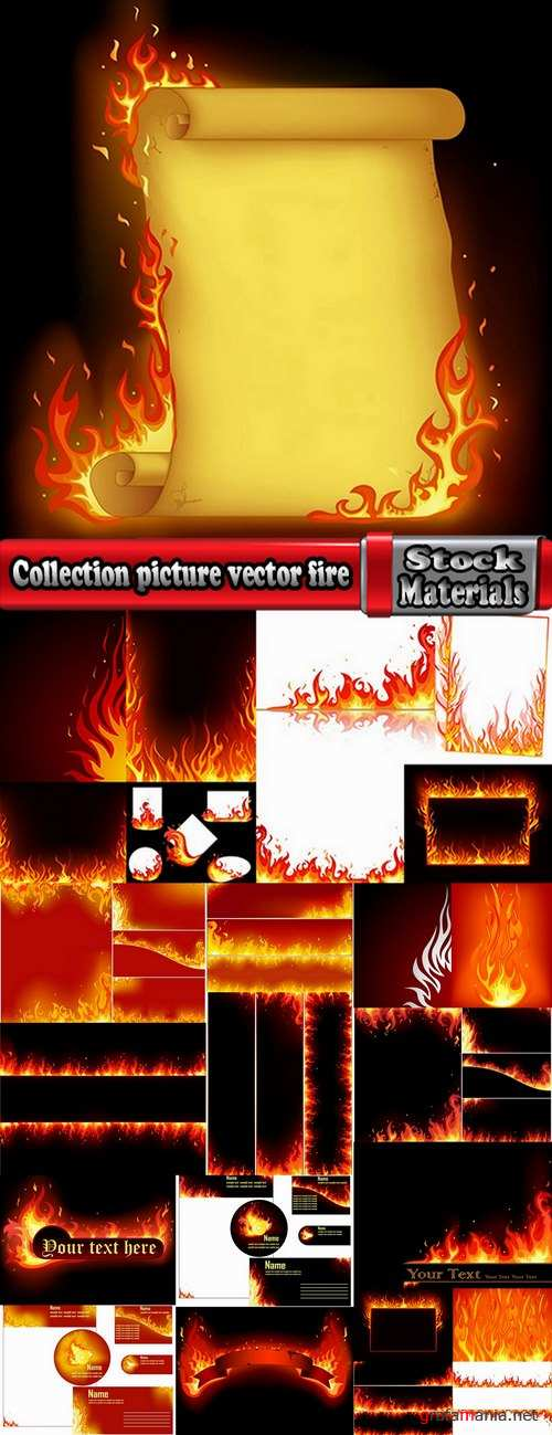 Collection picture vector fire frame fire design element 25 EPS