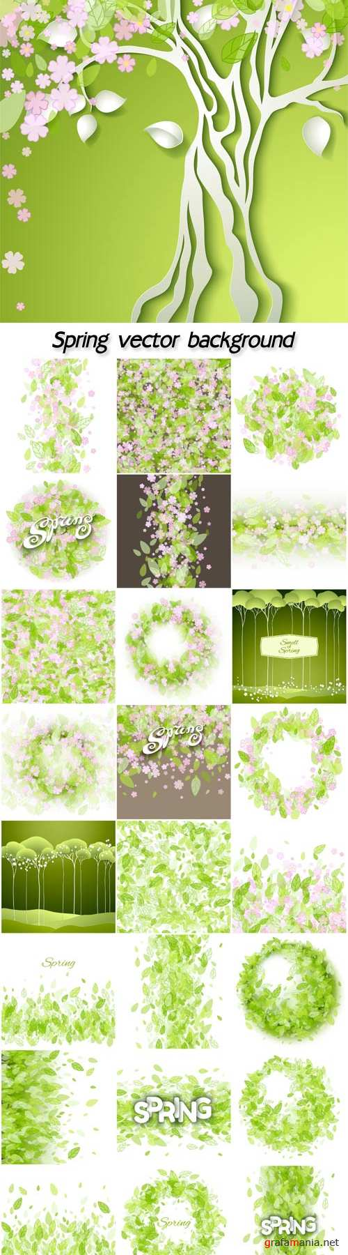 Spring vector background with green leaves and flowers