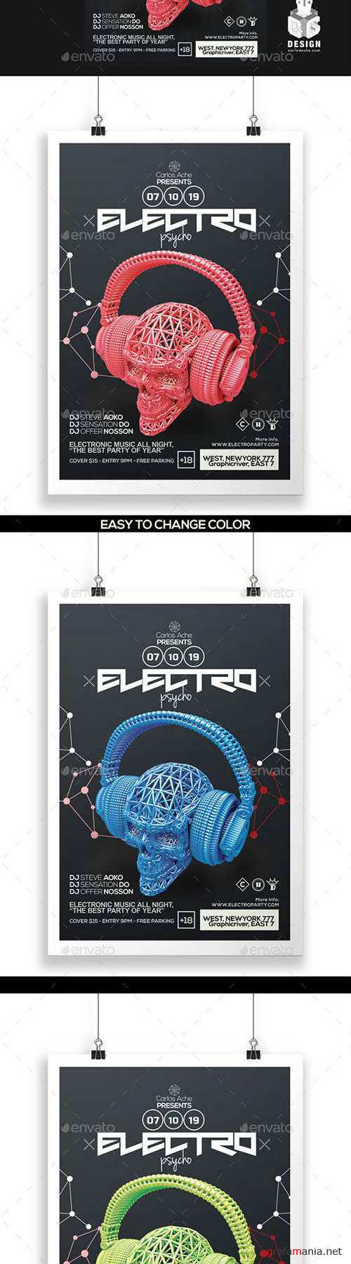 Electro Psycho Poster - Flyer Template 12145305 (Graphicriver)