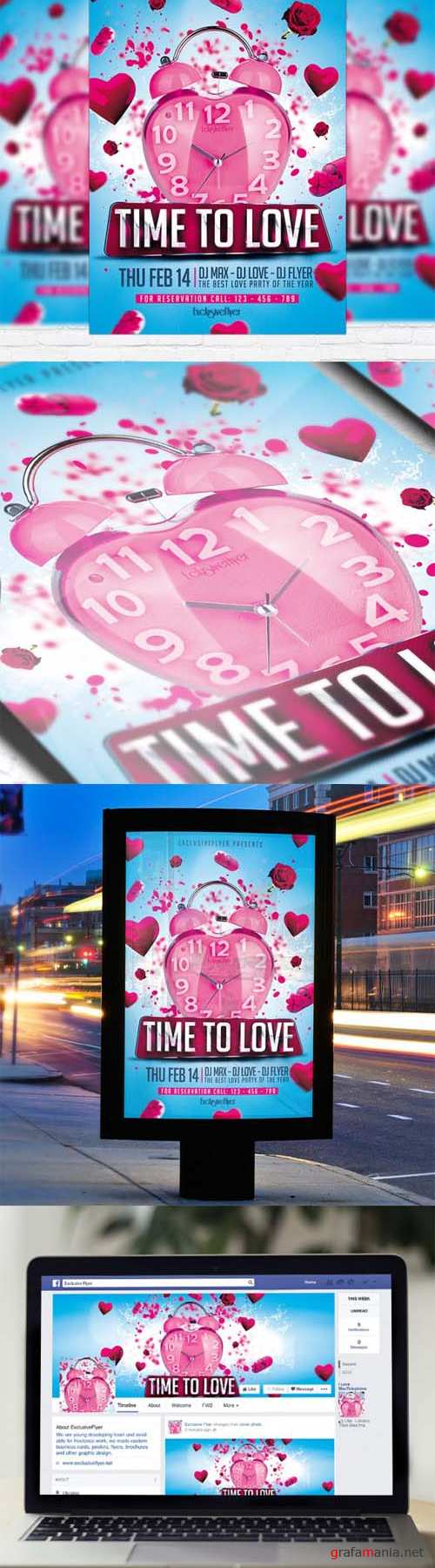 Flyer Template - Time to Love + Facebook Cover