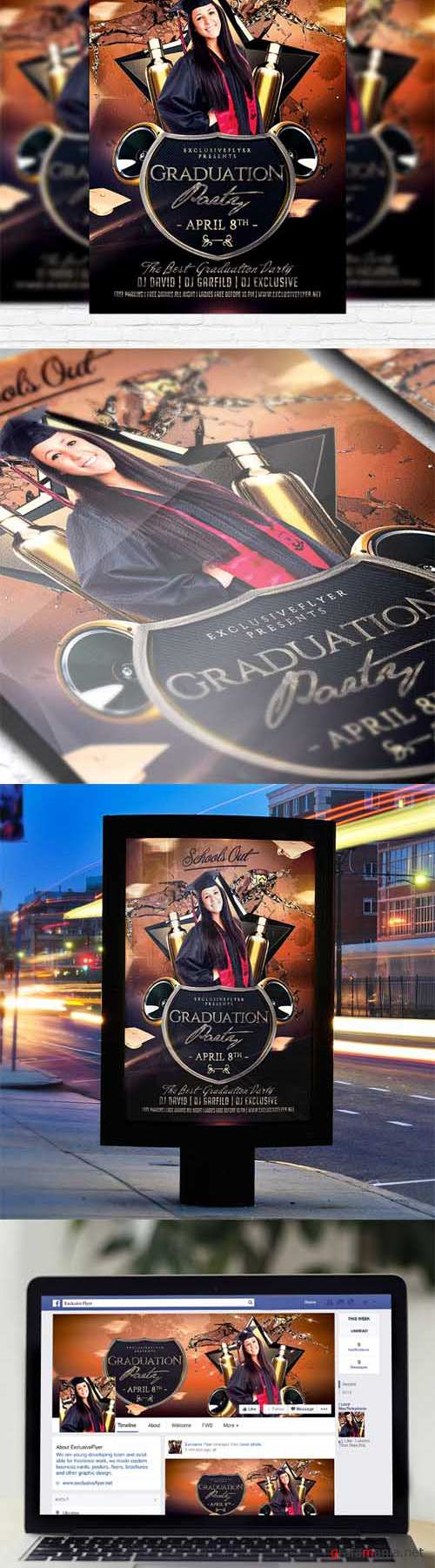 Flyer Template - Graduation Party + Facebook Cover