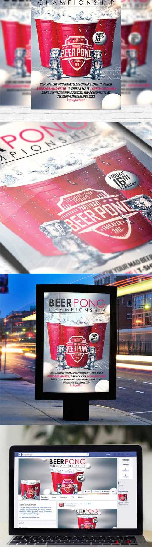 Flyer Template - Beer Pong Championship + Facebook Cover