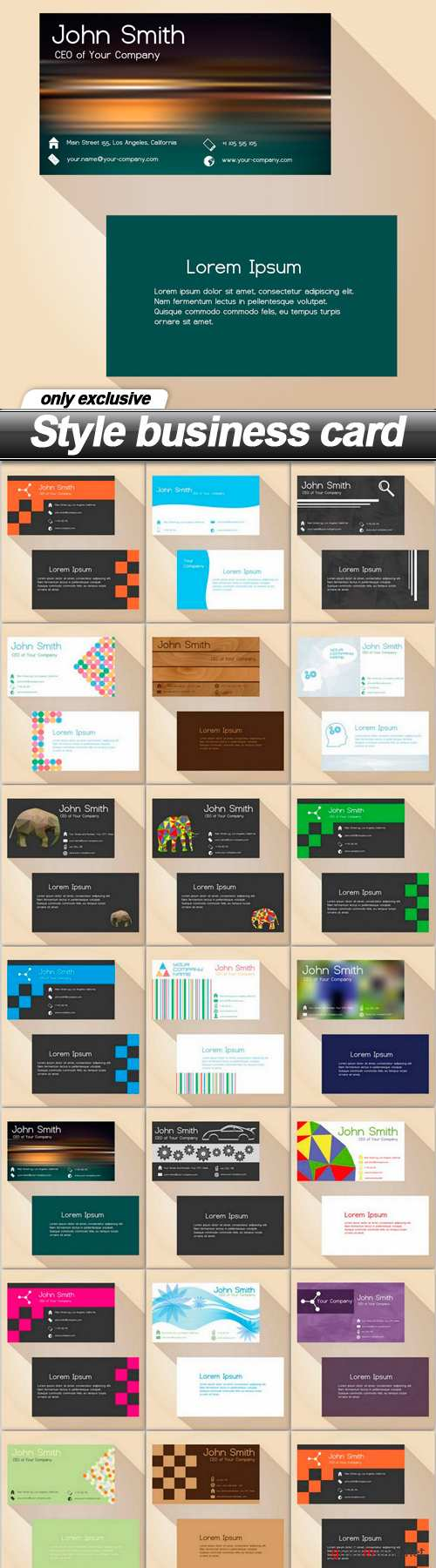 Style business card - 20 EPS