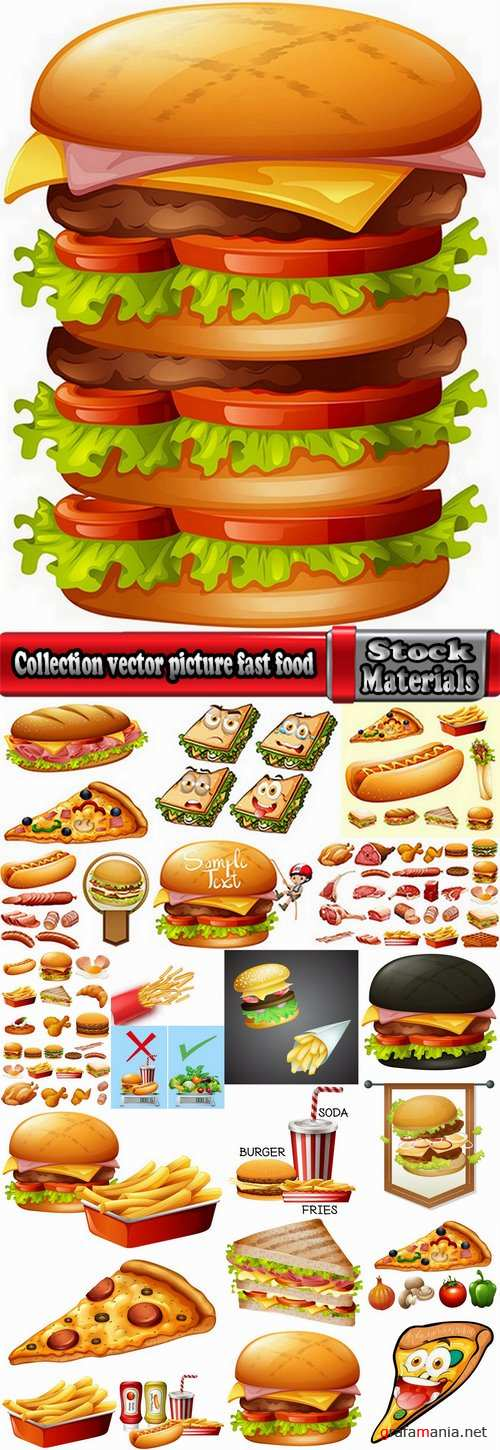 Collection vector picture fast food hamburger hot dog sandwich 25 EPS