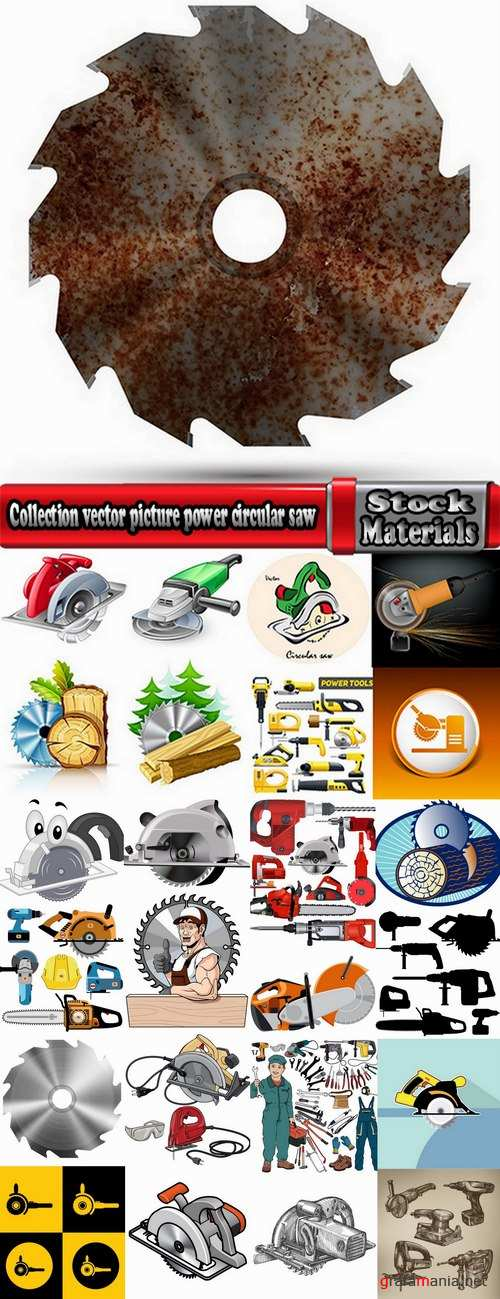 Collection vector picture power circular saw 25 HQ Jpeg