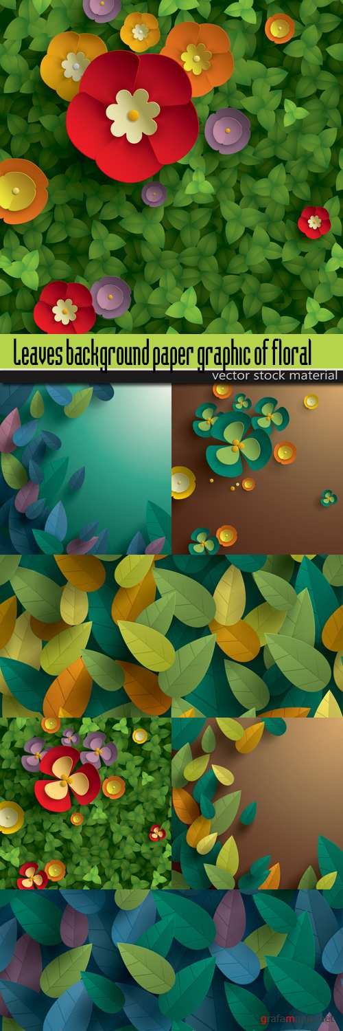 Leaves background paper graphic of floral