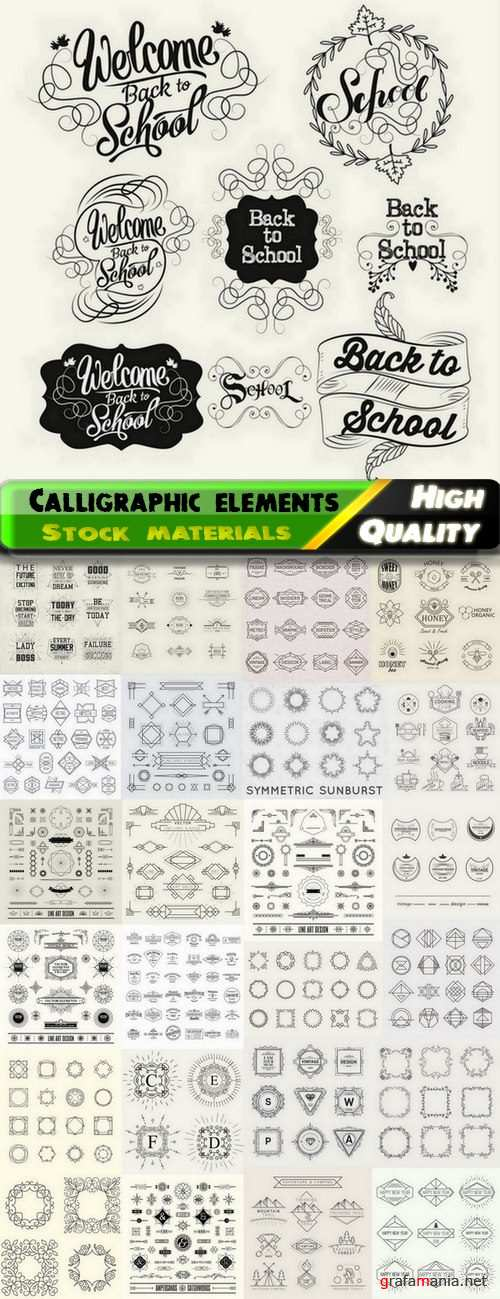 Calligraphic design elements for page decorations #62 - 25 Eps