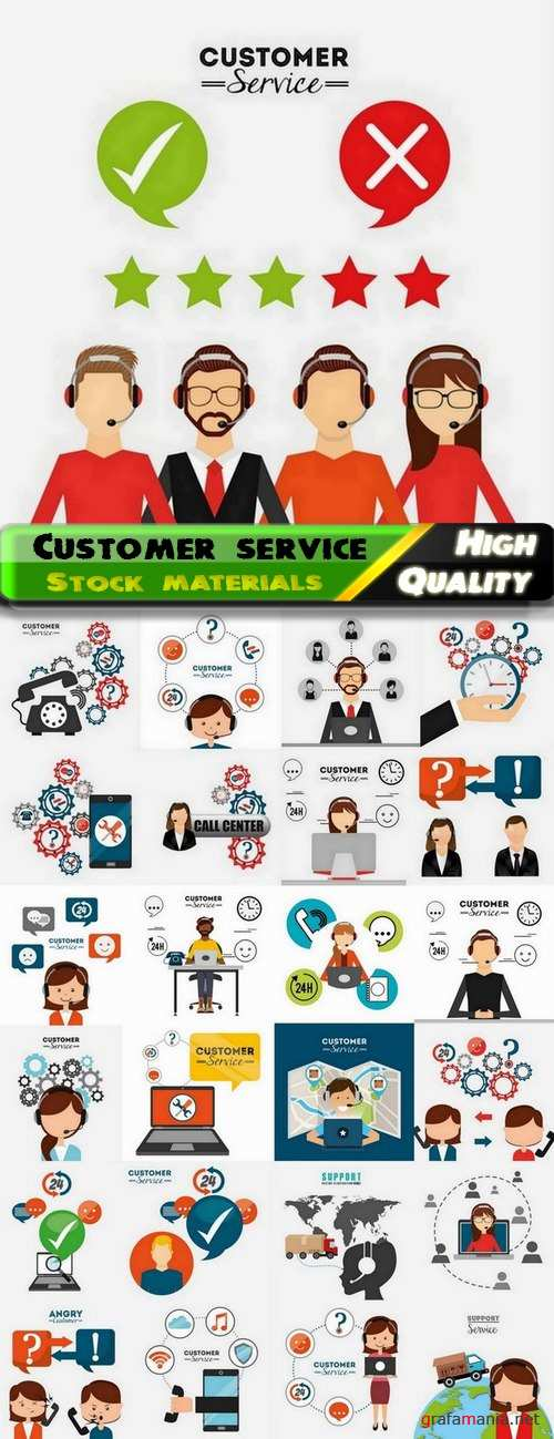 Flat elements with theme of customer service - 25 Eps