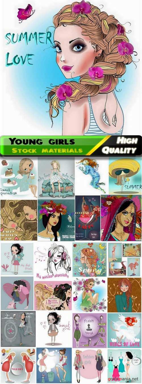 Sketches and illustrations of cute young girls - 25 Eps