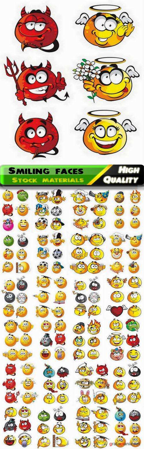 Yellow square smiling faces and emoticons 3 - 25 Eps