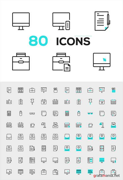 80 Line Vector Icons