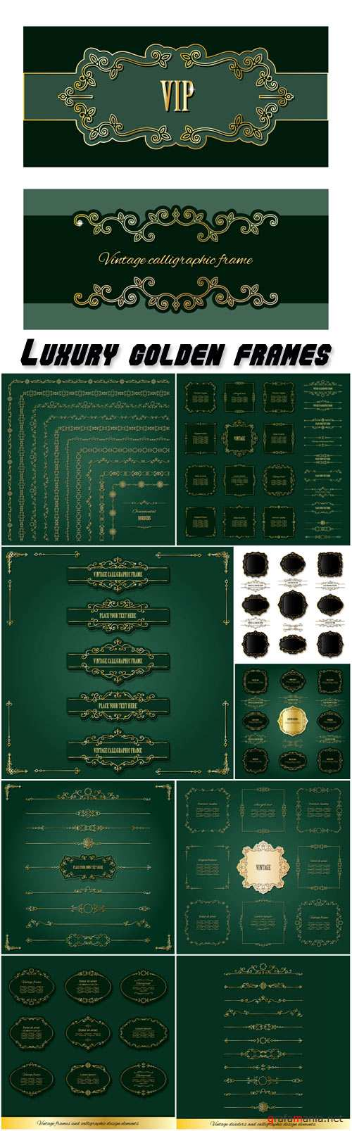Luxury golden frames, labels, borders and dividers big set, calligraphic design elements