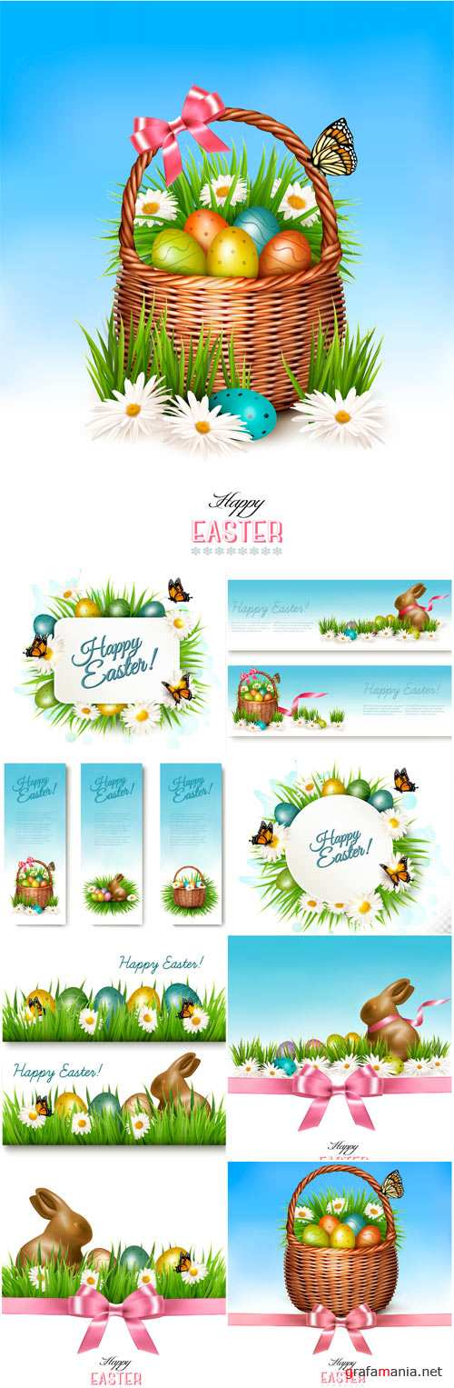 Happy Easter background, colorful Easter eggs and chocolate bunny