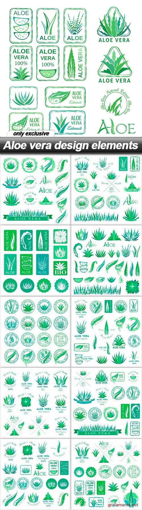 Aloe vera design elements - 11 EPS