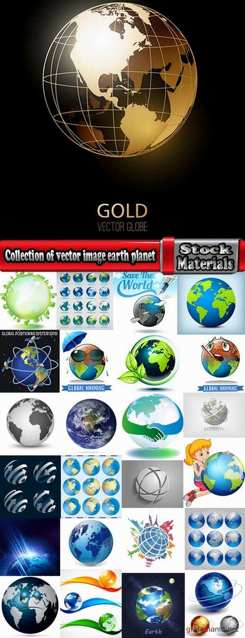 Collection of vector image earth planet Globe earth globe 25 EPS