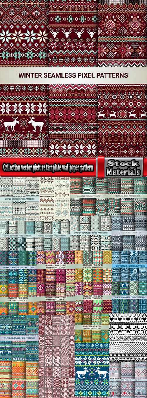 Collection vector picture template wallpaper pattern pixel background 25 EPS