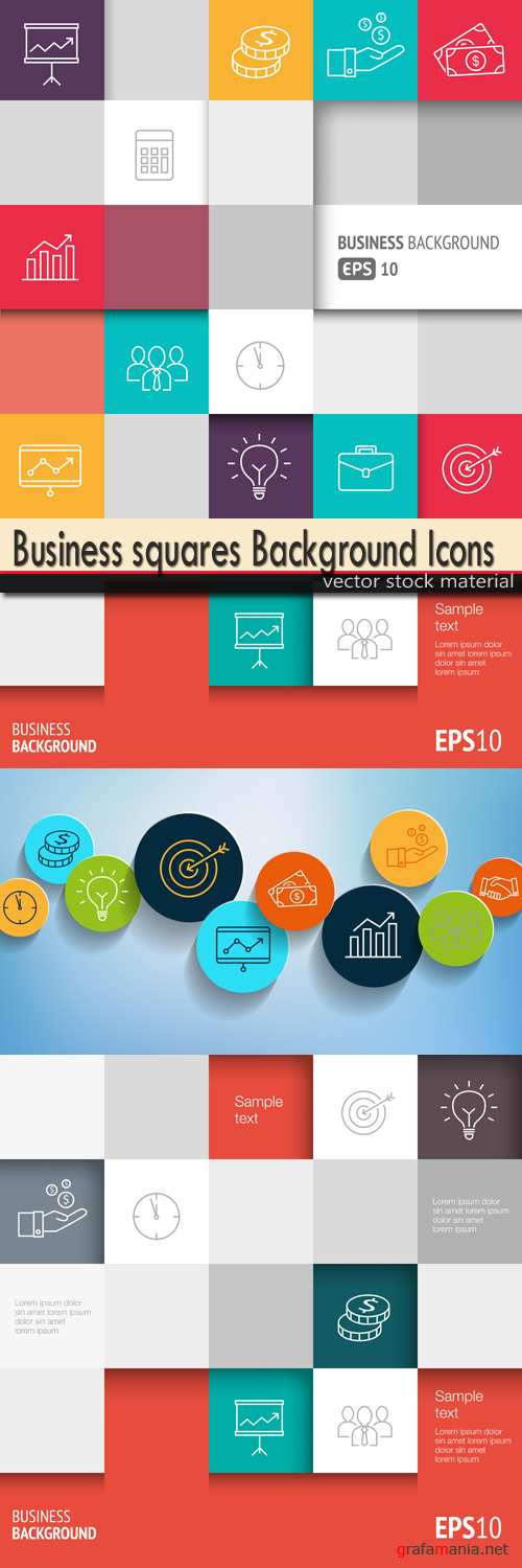 Business squares Background Icons