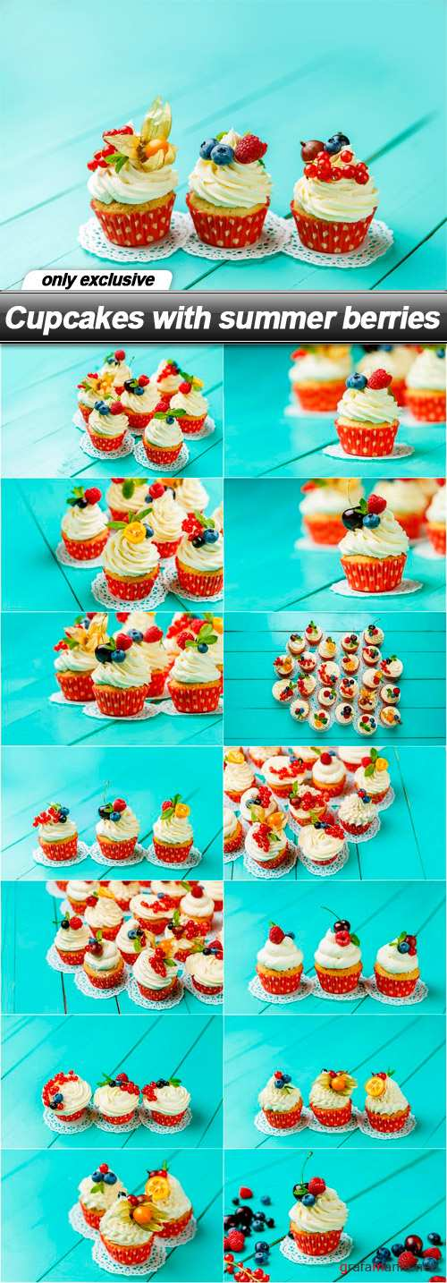 Cupcakes with summer berries - 15 UHQ JPEG