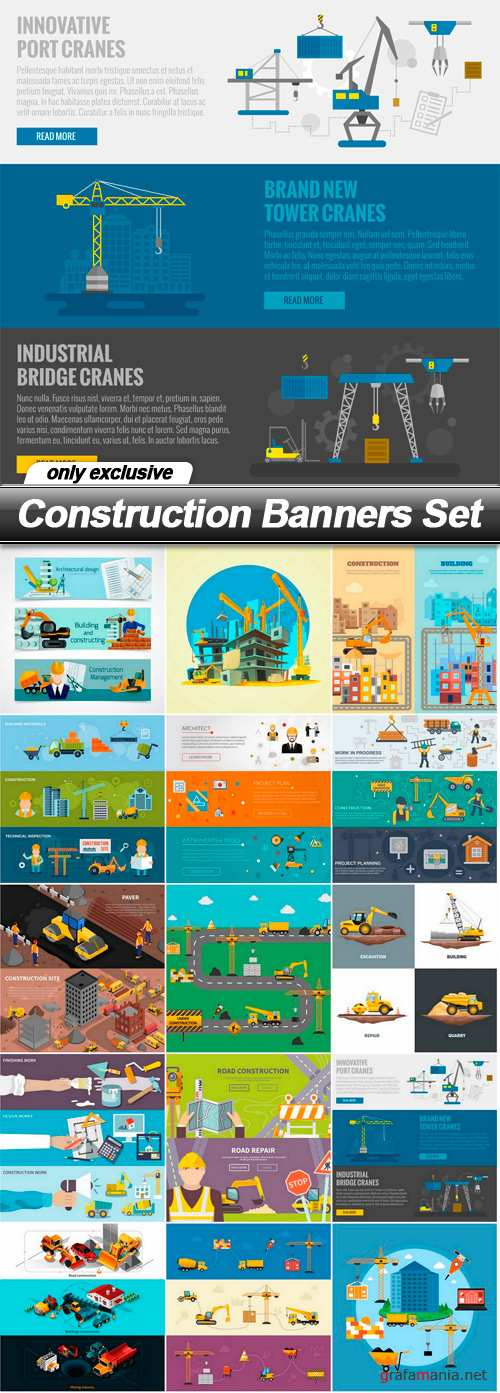 Construction Banners Set - 15 EPS