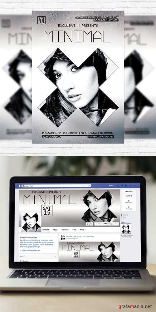 Flyer Template - Minimal Party + Facebook Cover