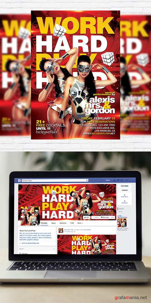 Flyer Template - Work Hard Play Hard + Facebook Cover