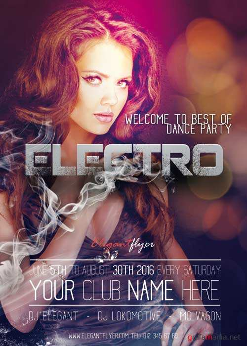 Electro V2 Flyer PSD Template + Facebook Cover