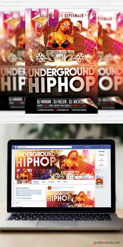 Flyer Template - Underground Hip Hop Party + Facebook Cover