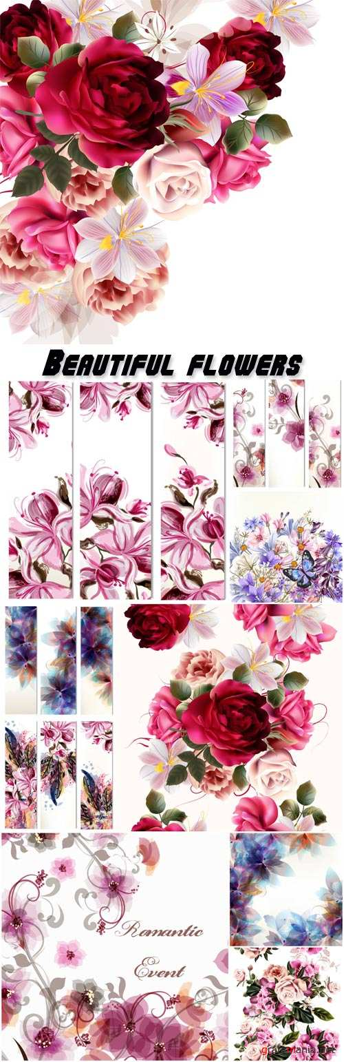 Beautiful background with flowers, vector illustration