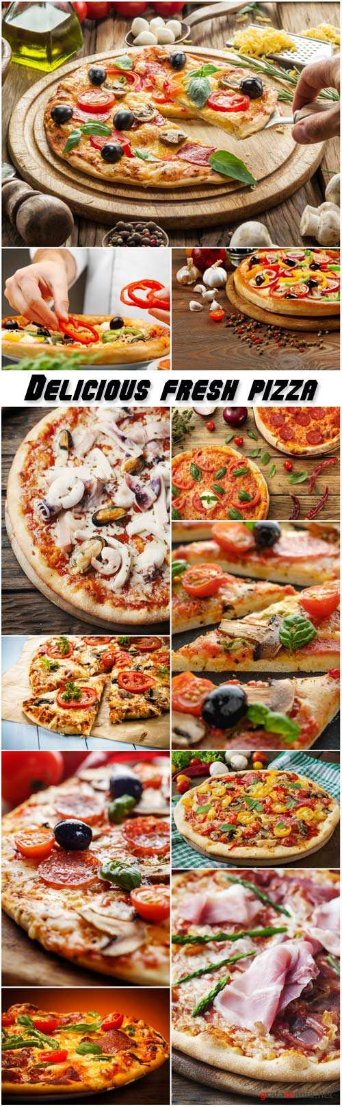 Delicious fresh pizza with mushrooms, pepperoni and seafood