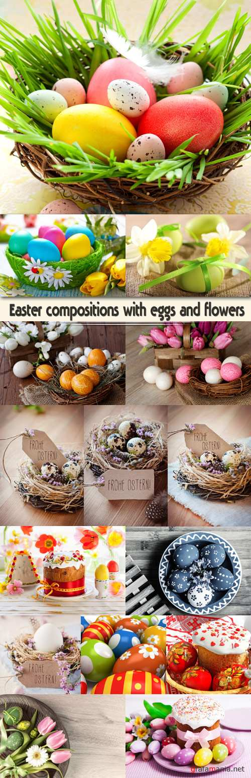 Easter compositions with eggs and flowers