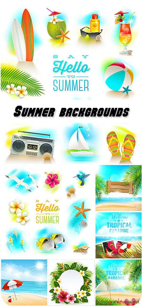 Marine elements in the vector summer backgrounds