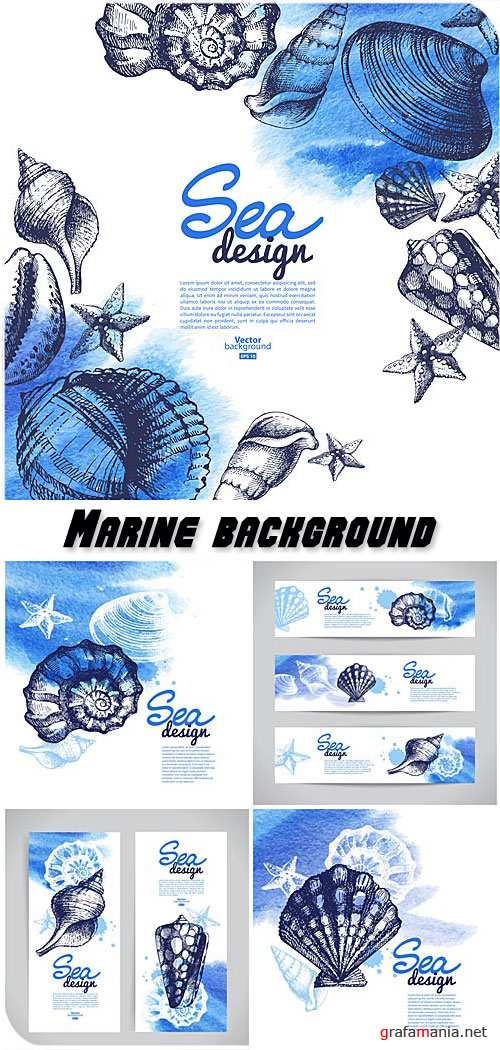 Marine background and banner in vector