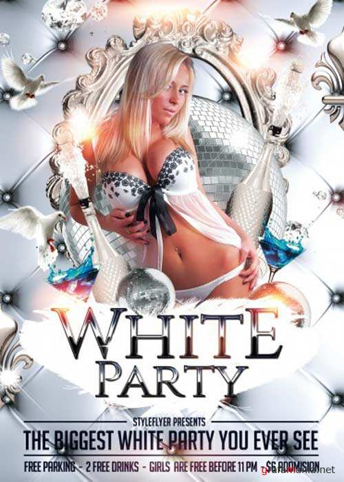 White Party V4 Flyer PSD Template + Facebook Cover