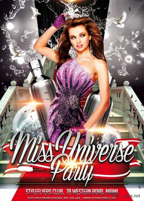 Miss Universe Flyer PSD Template + Facebook Cover