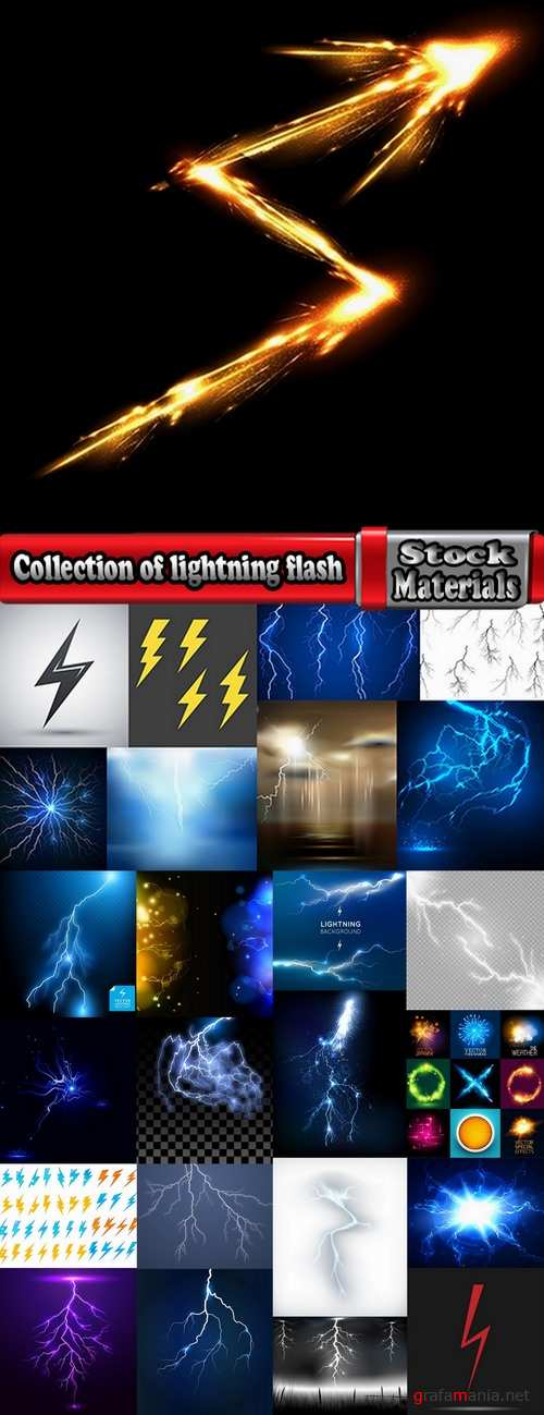 Collection of lightning flare flash light effect icon web design element vector image 25 EPS