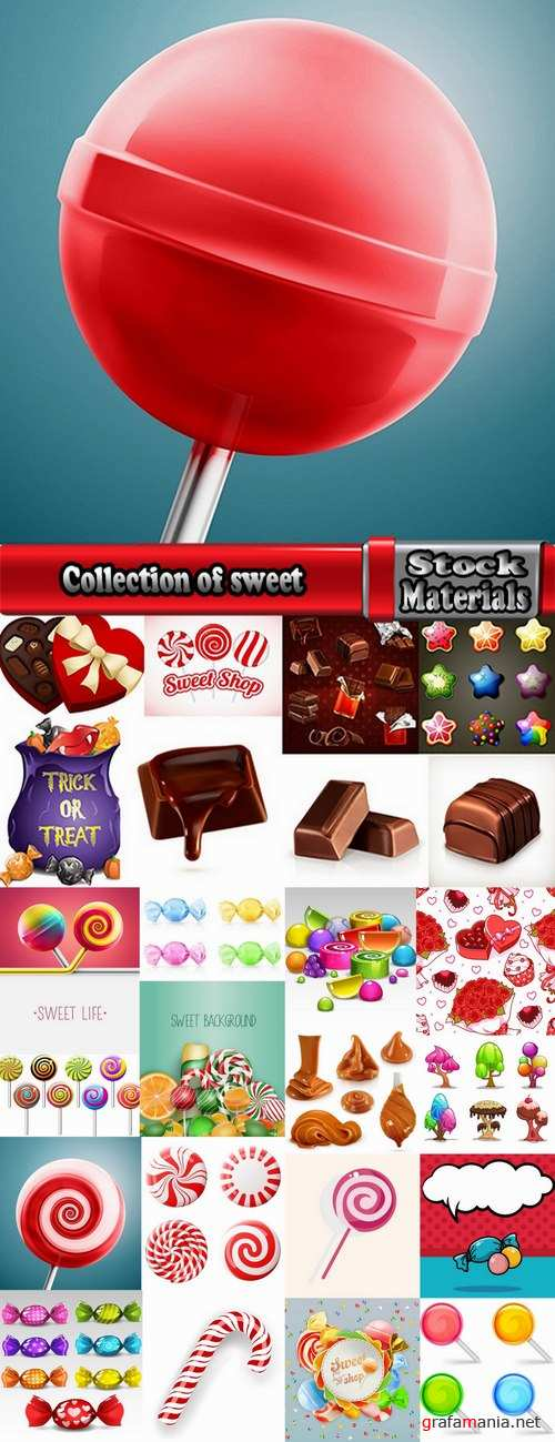 Collection of sweet caramel candy on a stick vector image 25 EPS