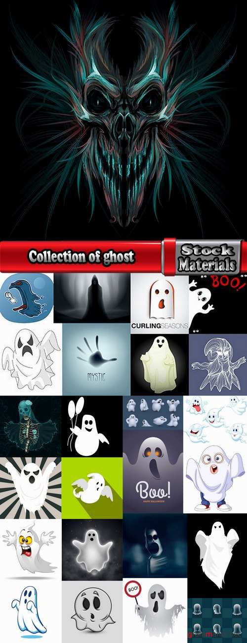 Collection of ghost specter vector image 25 EPS