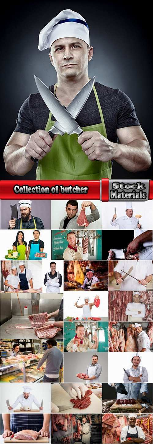 Collection of butcher cutting meat 25 HQ Jpeg