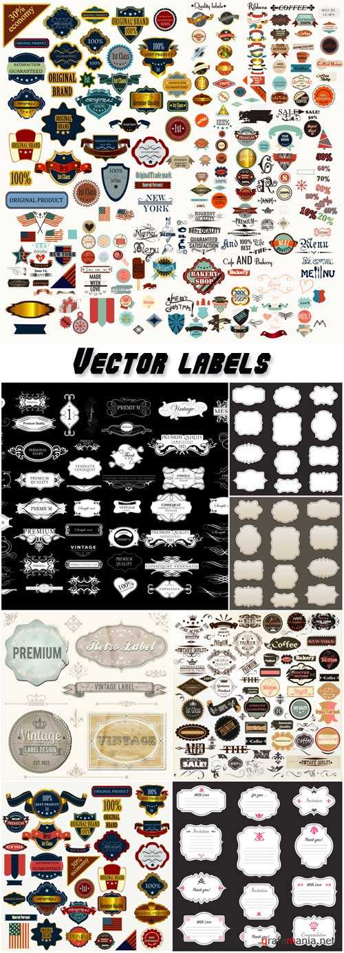 Collection of vector labels badges and stikers in retro style