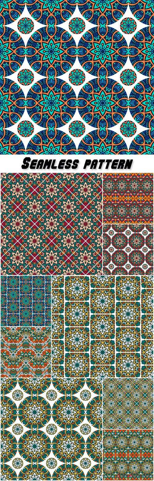 Ethnic vector floral seamless pattern