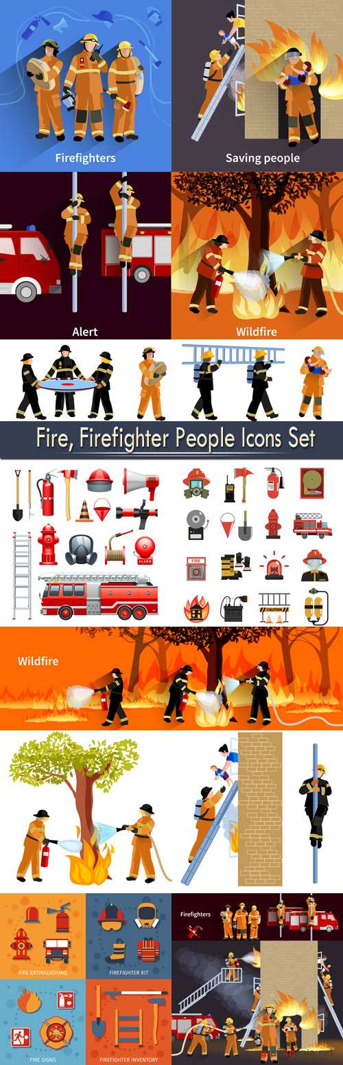 Fire, Firefighter People Icons Set