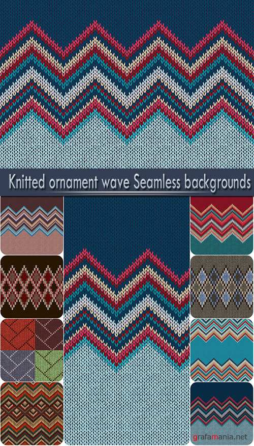 Knitted ornament Wave seamless backgrounds