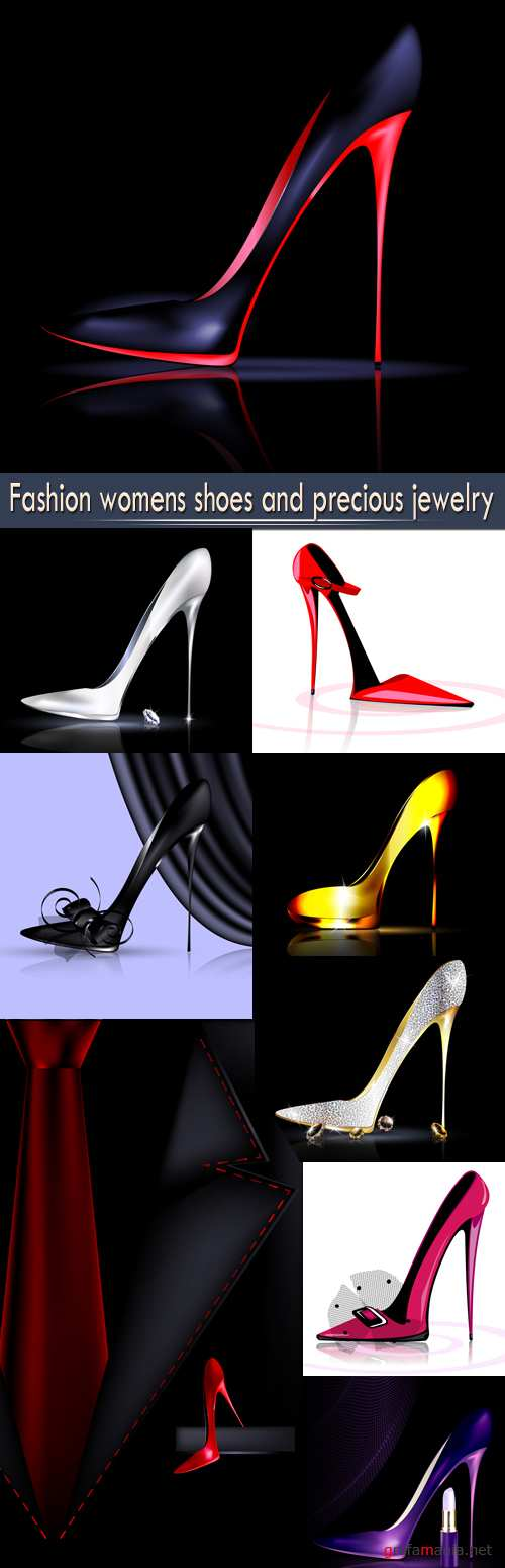 Fashion womens shoes and precious jewelry