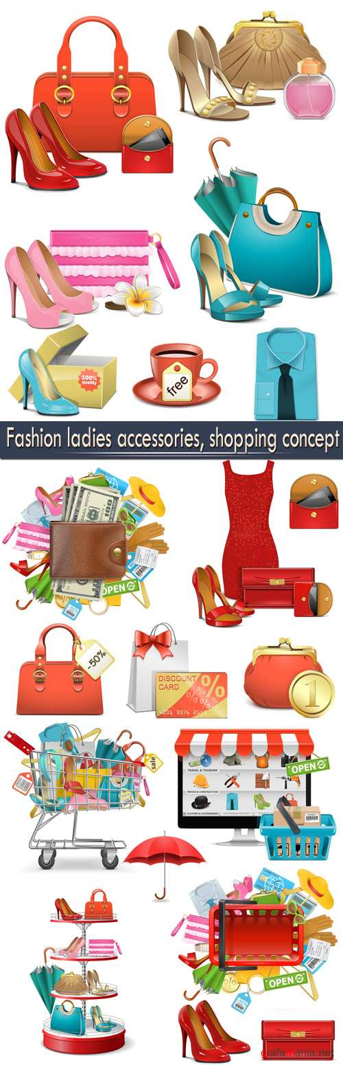 Fashion ladies accessories, shopping concept
