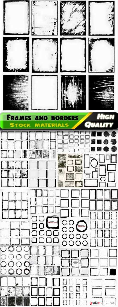 Grunge frames and borders and circles - 25 Eps