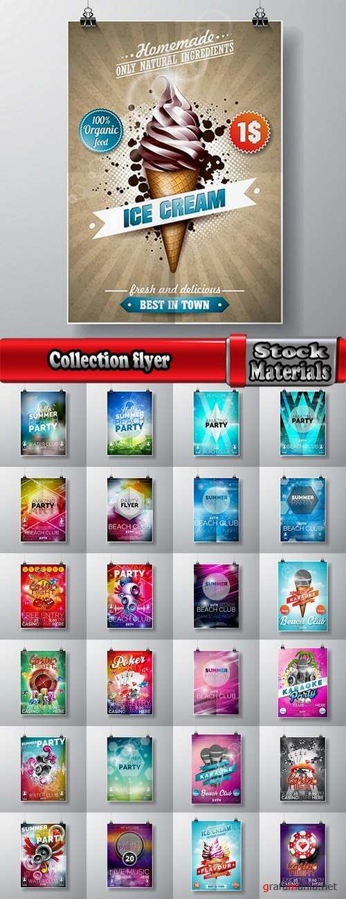 Collection flyer banner poster party holiday disco vector image 25 EPS